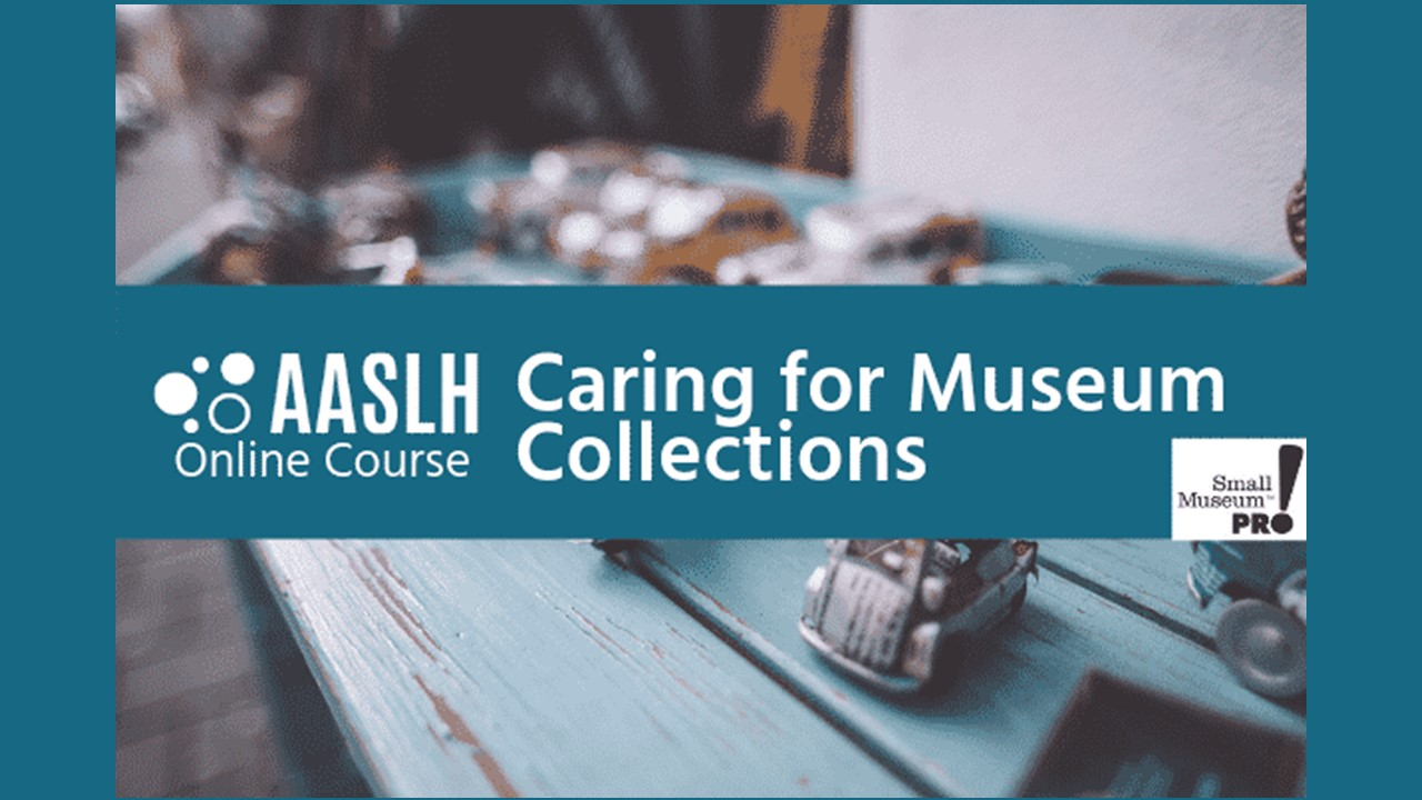 Background image of a set of toy cars sitting on a painted wooden table with AASLH Caring for Museum Collections written in white on top.