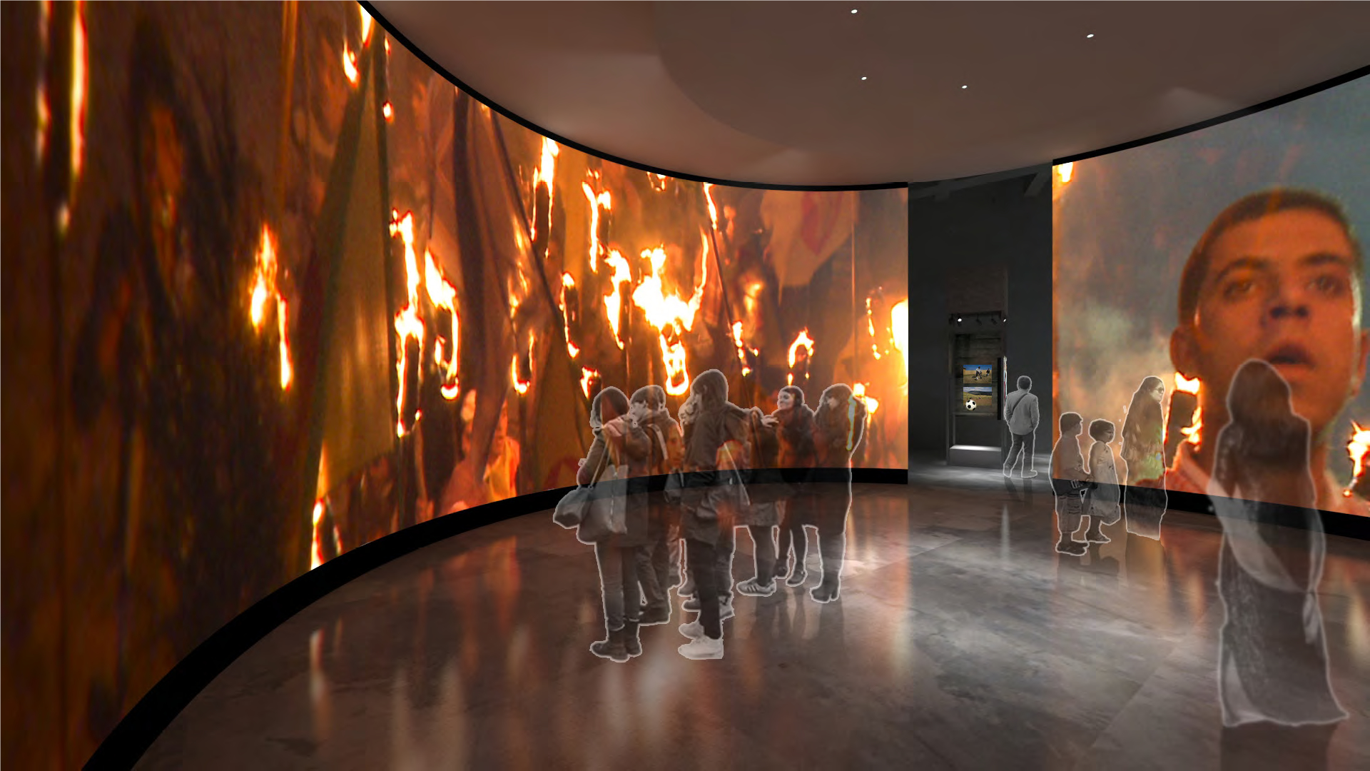 A rendering shows hypothetical visitors watching videos on screens that curve around a room. On the screens play videos showing street celebrations with lit torches.