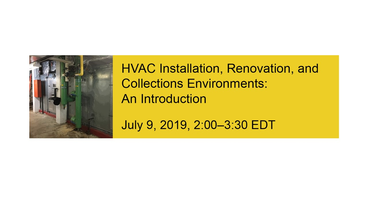 Image of HVAC pipes next to yellow block with text about the event to the right