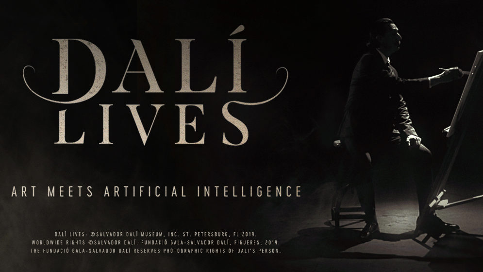 "An image of Dali in profile painting at an easel, with the tagline ""Dali Lives: Art Meets Artificial Intelligence"""