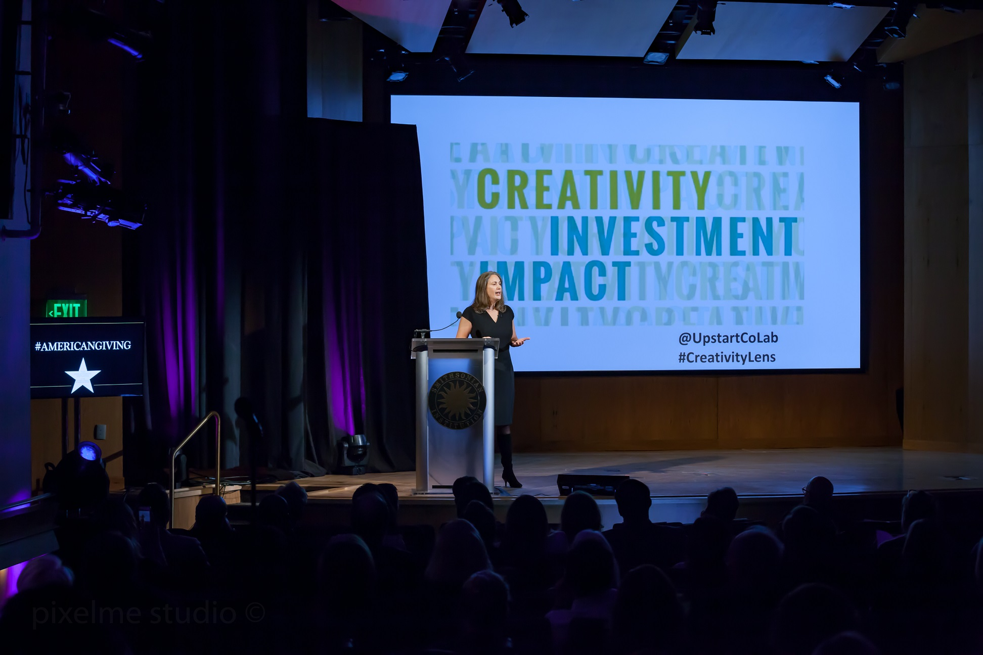 Laura Callanan speaking at the Smithsonian Institution's Power of Giving 2018 symposium on Impact Investing through a Creativity Lens.