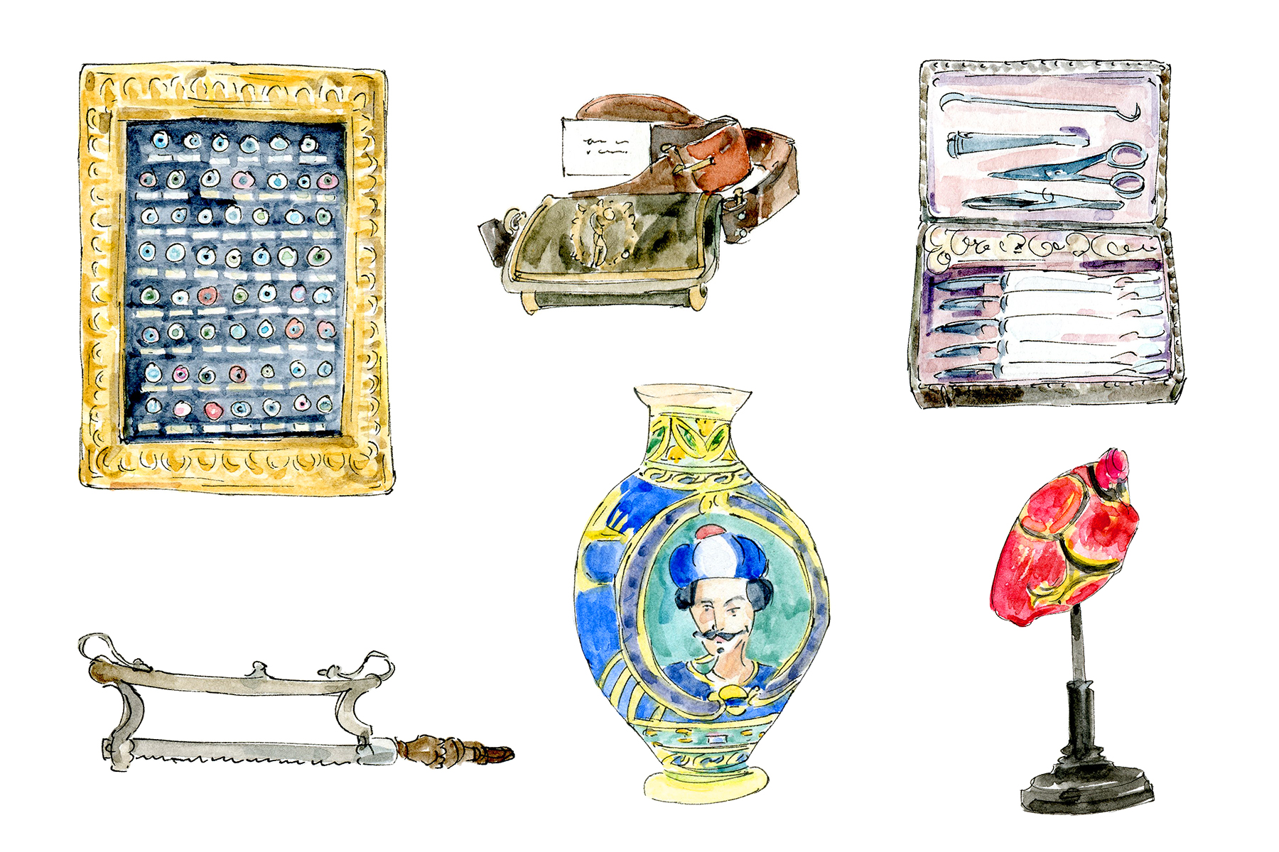 An illustration of an array of objects from the museum's collection, including an urn, a set of medical instruments, a saw, an eye chart.