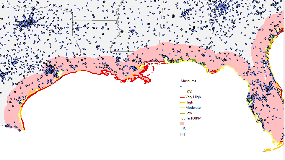 The location of museums and related organizations along the Gulf Coast. Shaded region indicates costal area (100 kilometers from the coast line). Segments of the coast are colored by coastal vulnerability index (see legend), which indicates the susceptibility of sea level rise. Source: Institute of Museum and Library Services