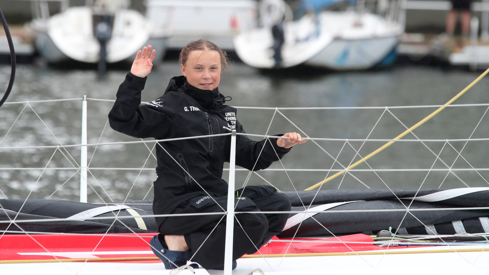 Greta Thunberg sailed from the UK to New York City for the Climate Strike to emphasize the need to reduce carbon-emission damage to the planet. Mary Altaffer/AP