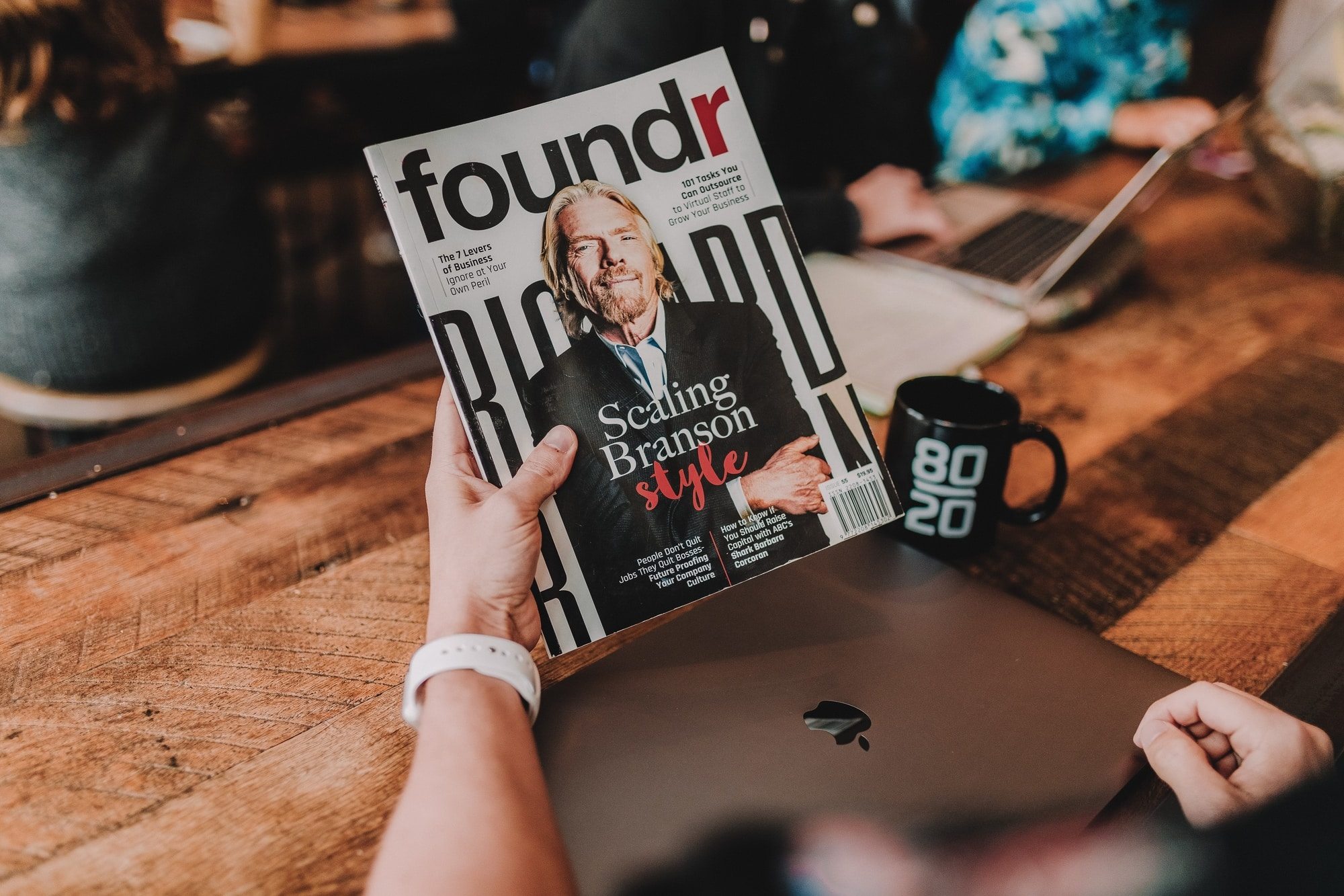 "A magazine cover of ""Foundr"" magazine with Richard Branson on the cover."