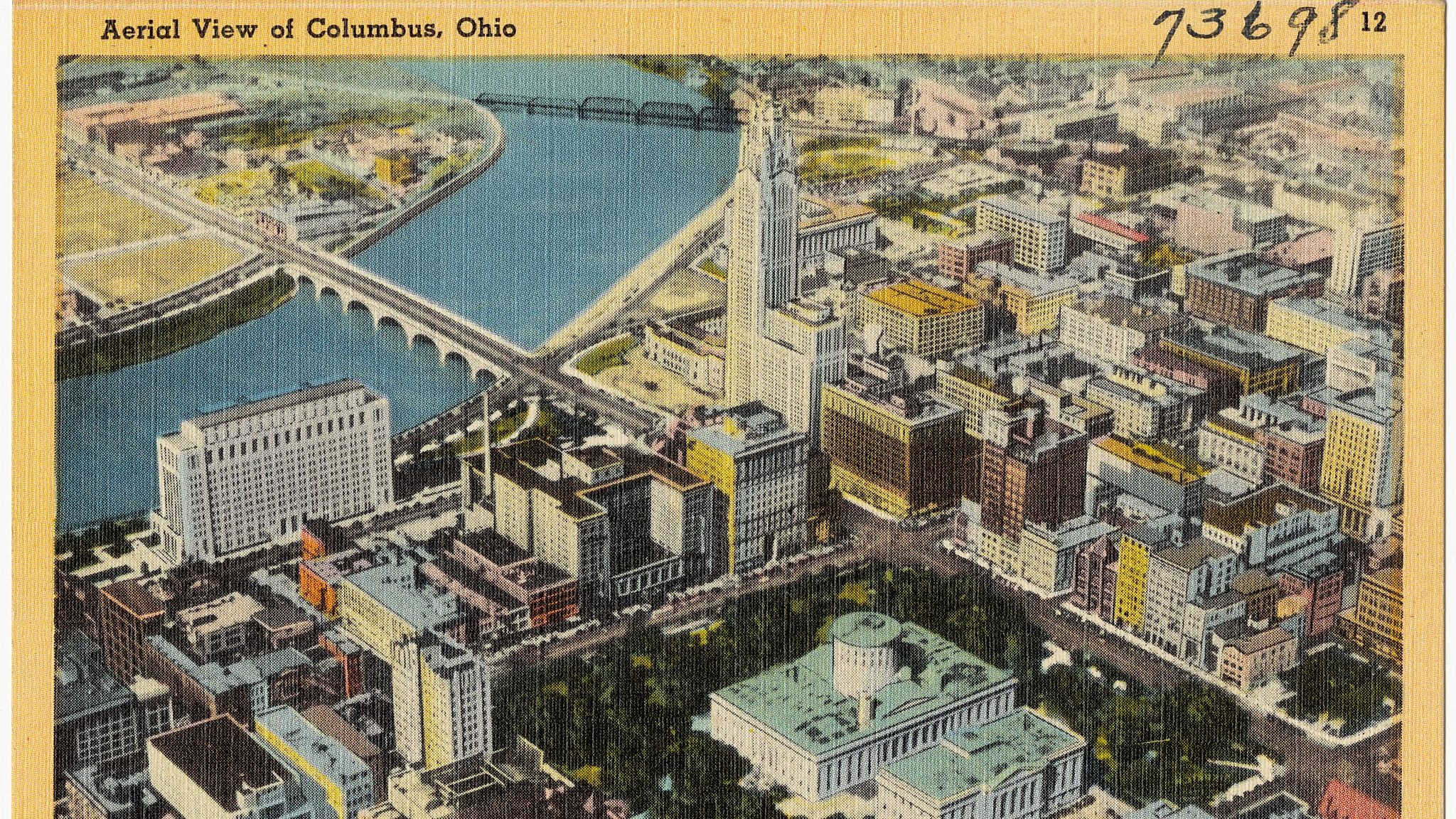 An illustration of an aerial view of Columbus, Ohio.
