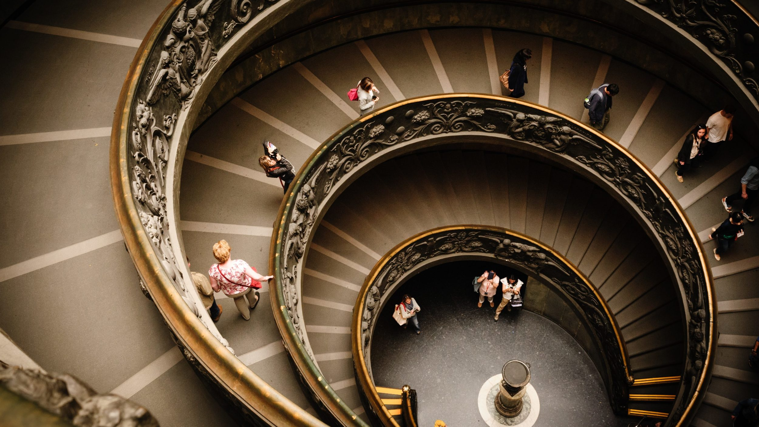 A spiral staircase seen from above