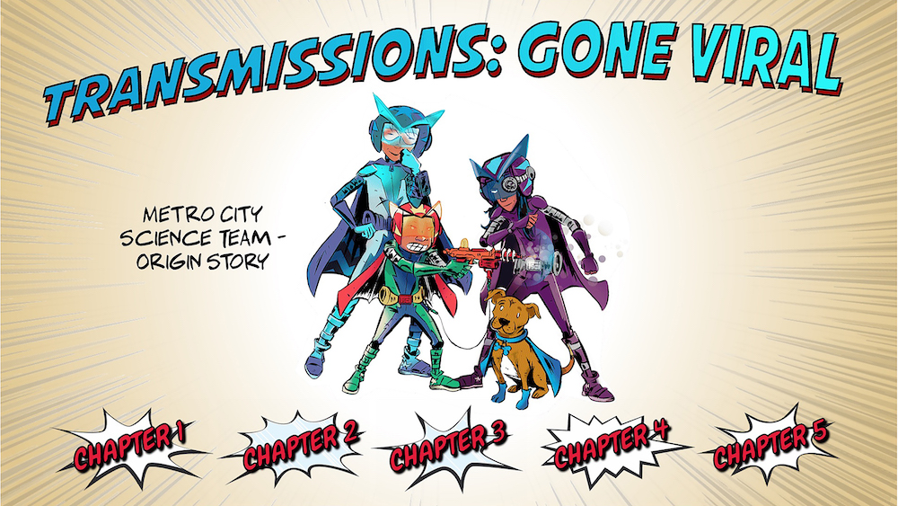 "The home screen of the comic with the title ""Transmissions: Gone Viral"" and buttons to select chapters one through four."