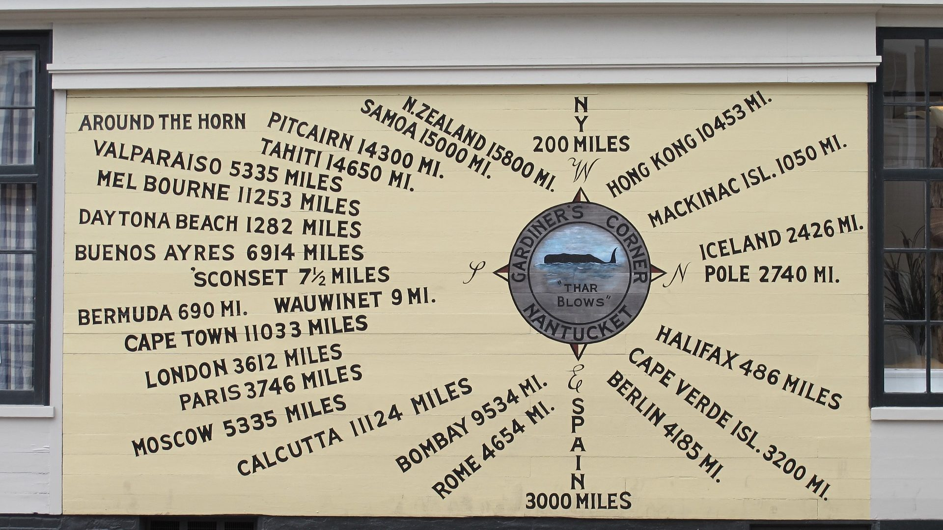 A sign showing the distance from Nantucket to other locations by sea.