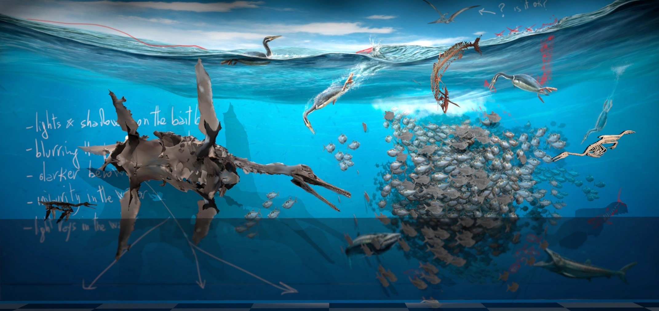 A rendering of an underwater diorama showing a large creature attacking a school of fish