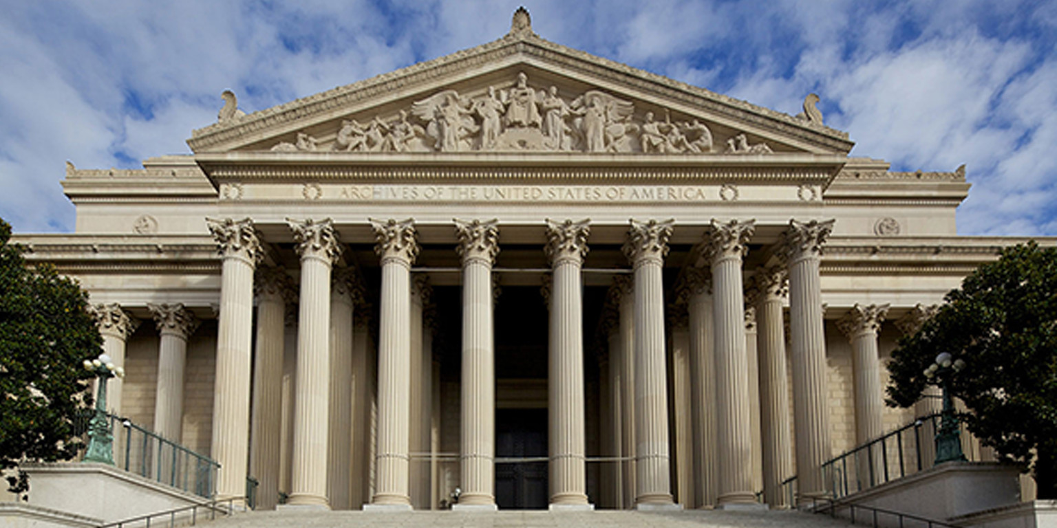 Exterior front facade of the National Archives and Records Administration