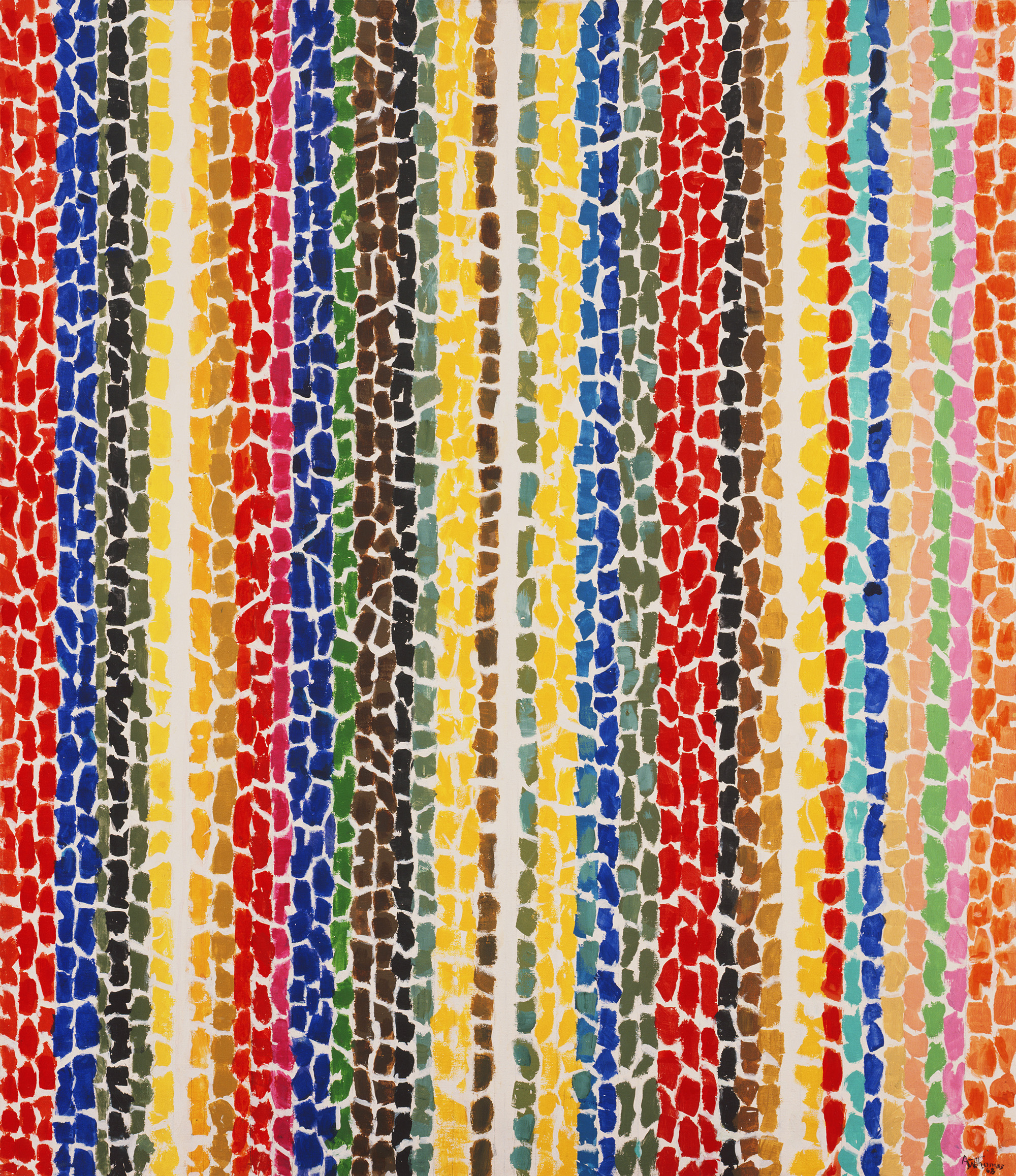 An abstract painting of bright brush strokes arranged in stripes