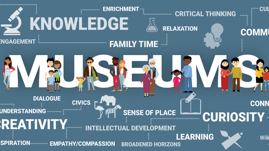 "A graphic that says ""MUSEUMS"" in large letters, with smaller phrases like ""knowledge,"" ""enrichment,"" and ""sense of place"" branching off from it."