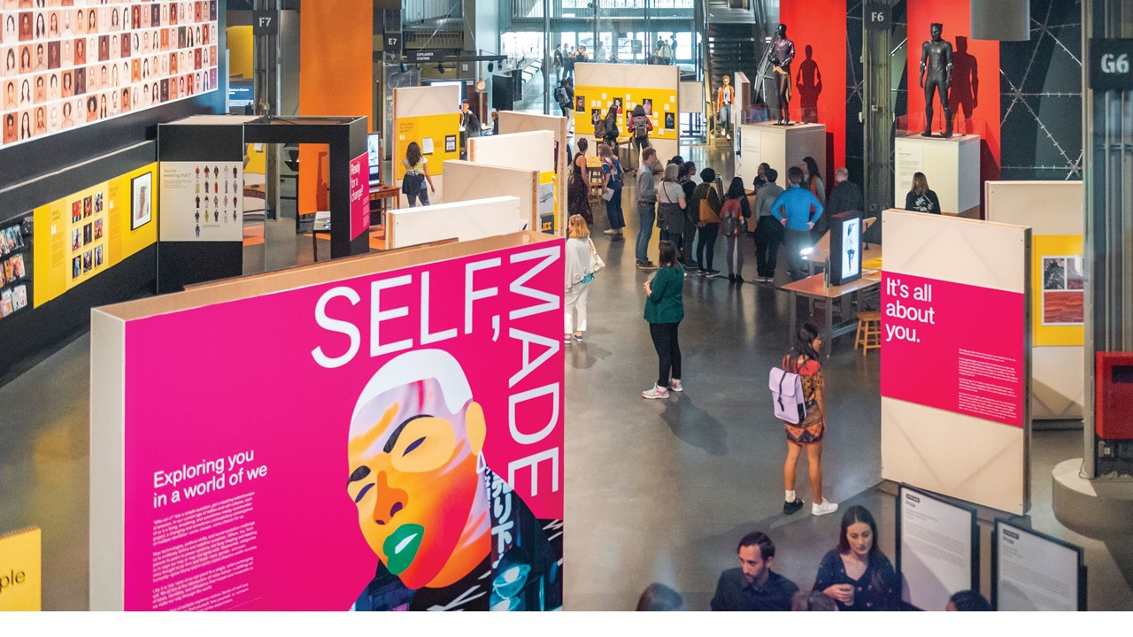 Wide view of the Self Made exhibition.