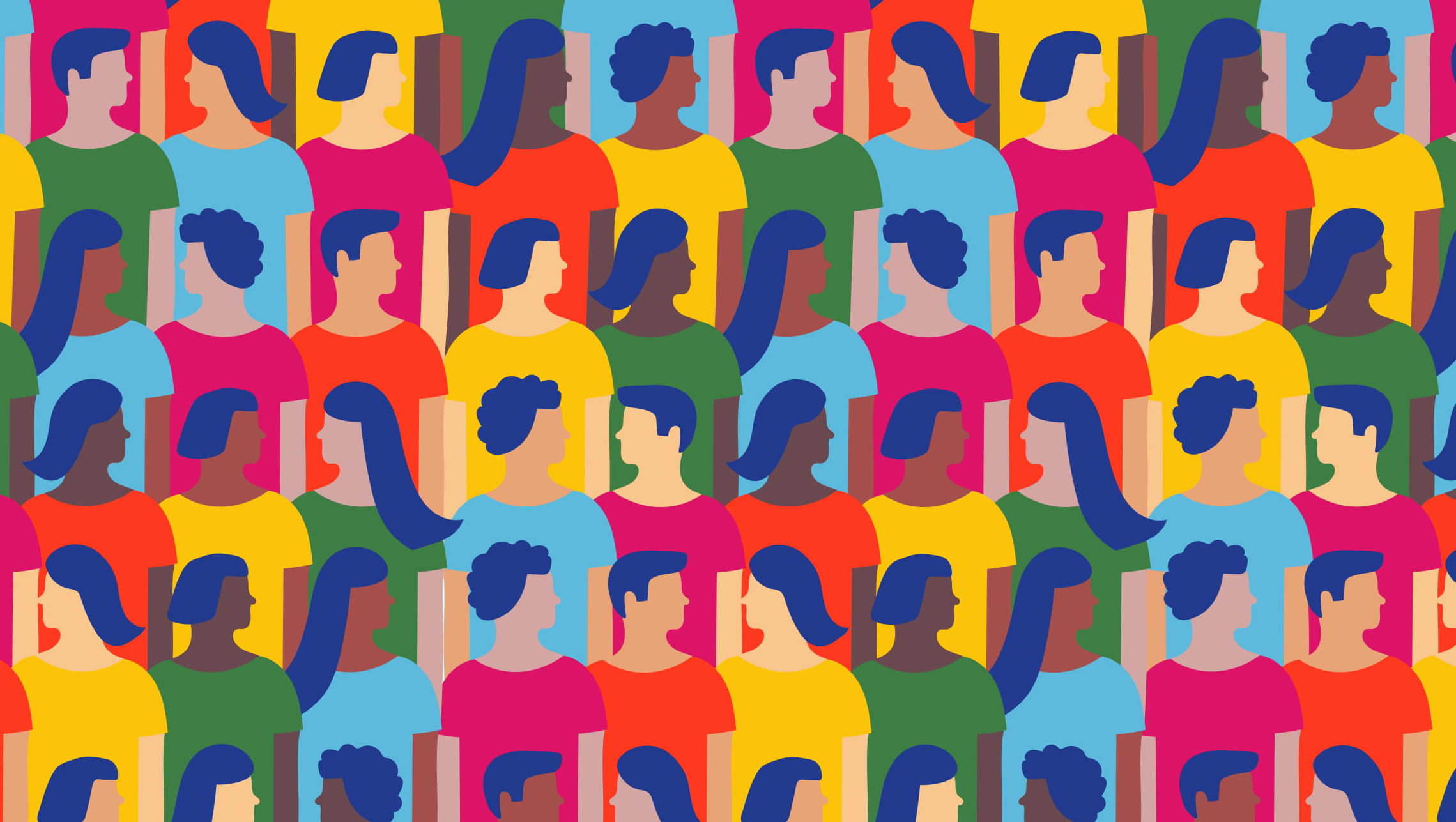 A graphic illustration of a diverse crowd of people.