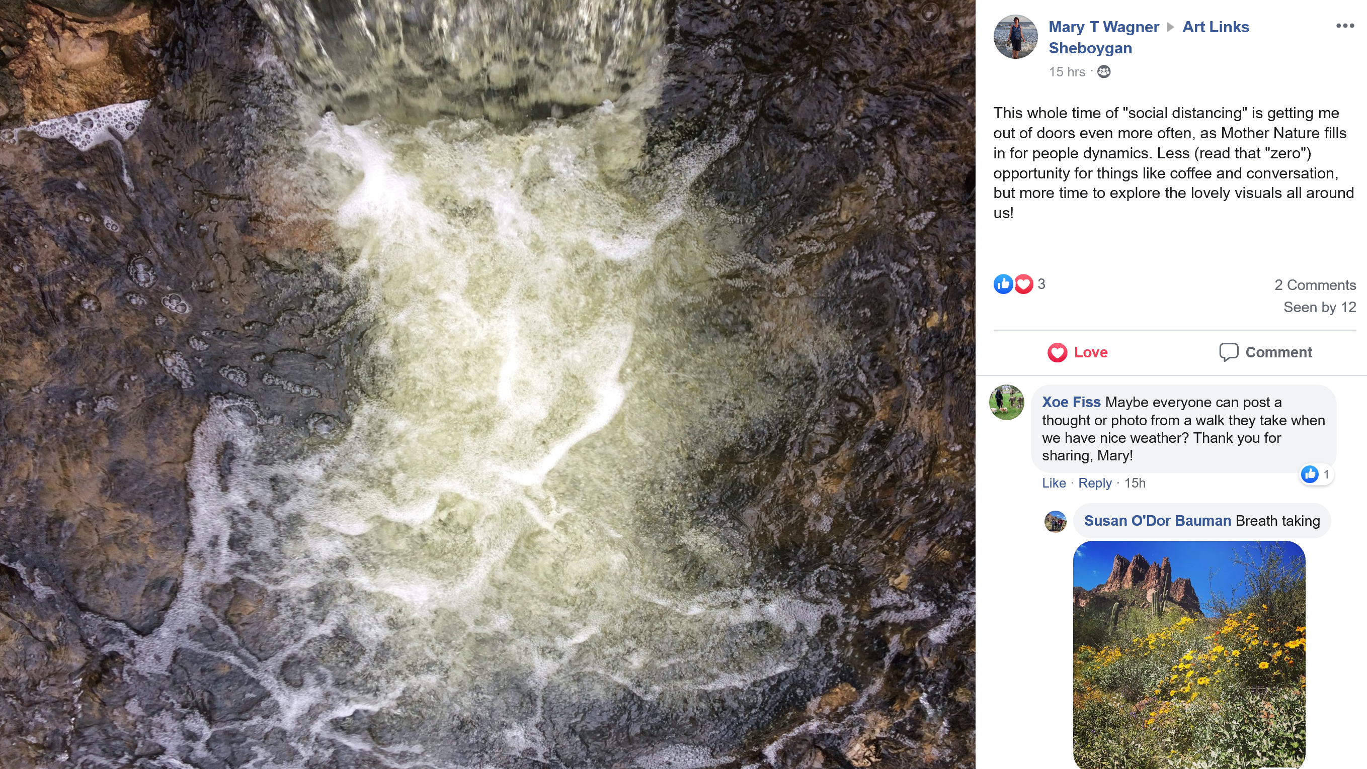 Screenshot of a Facebook group where program participants are sharing their photos of nature walks with reflections on the experience of social distancing