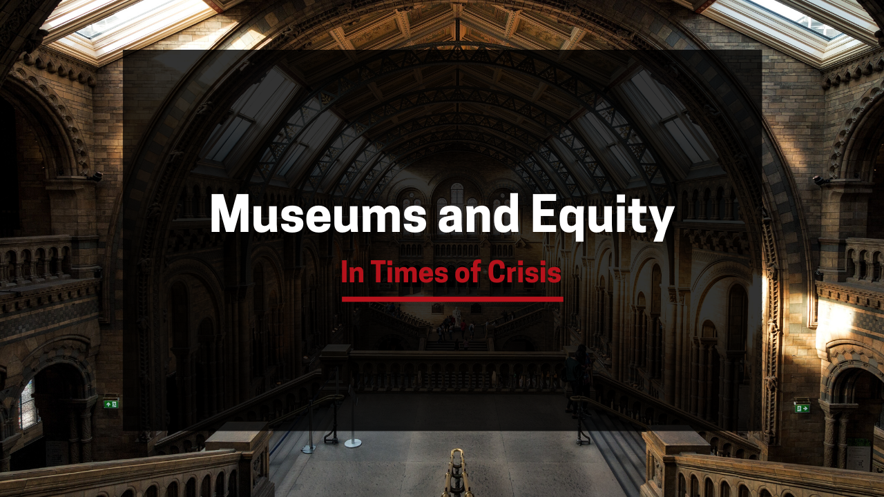 "An image of a museum interior with the title ""Museums and Equity in Times of Crisis"" overlaid"