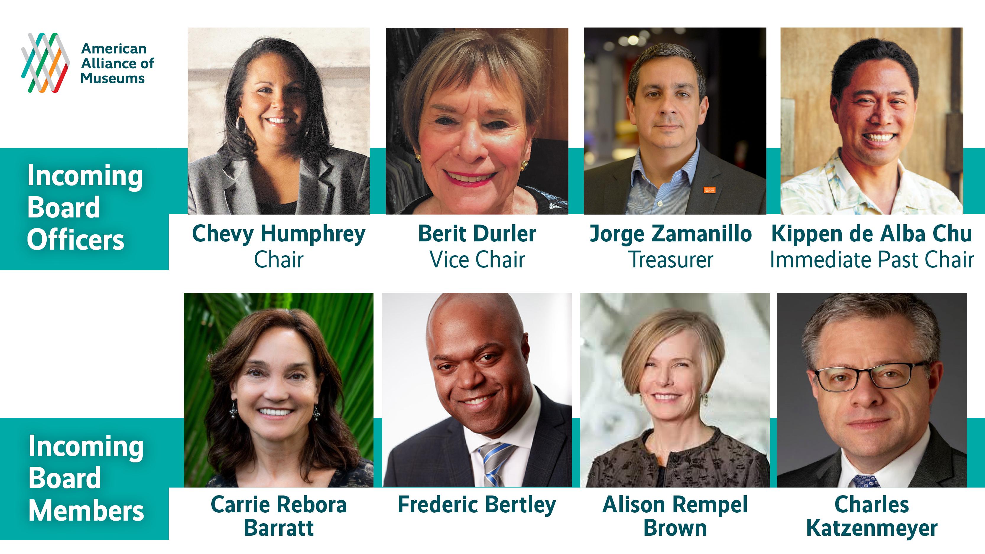 Thumbnail photos of eight board members
