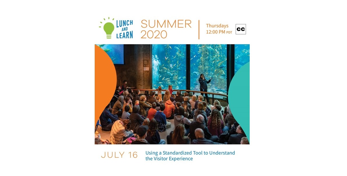 Text at top that says lunch and learn with photo of group of people seated in front of aquarium and date and title of event at bottom
