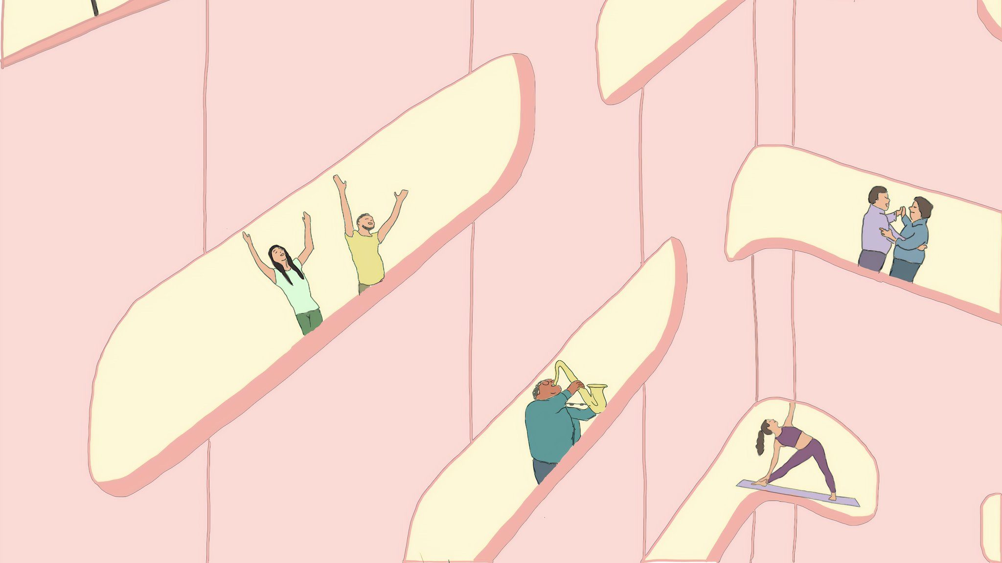 A stylized graphic of people facing toward windows and engaging in a variety of activities like playing an instrument, doing yoga, and window-watching.