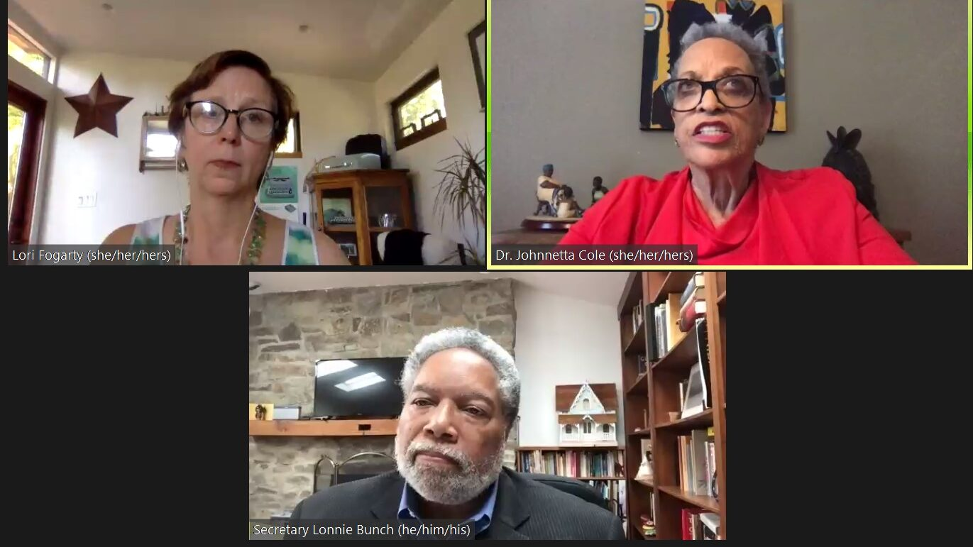 Screenshot of a Zoom conversation between Lori Fogarty, Dr. Johnnetta B. Cole, and Lonnie G. Bunch III