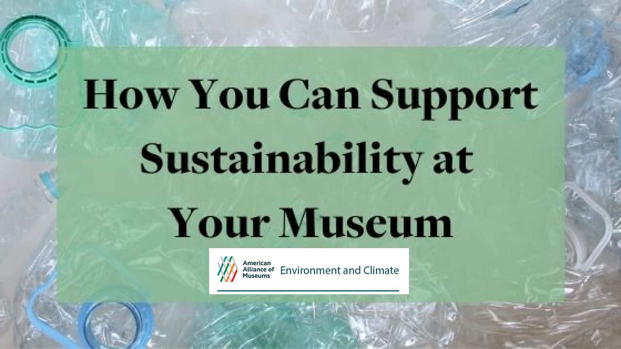"Graphic reading ""How You Can Support Sustainability at Your Museum"" on green text box with logo for AAM's Environment and Climate Network, and abstract border."