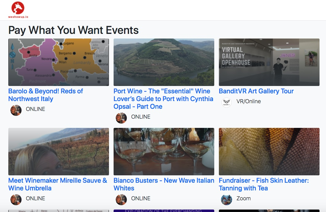 6 thumbnail images of pay what you want events