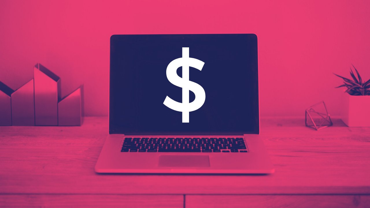 A graphic of a laptop with a dollar sign displayed on the screen
