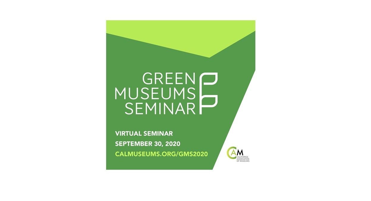 Text: green museums seminar on green background