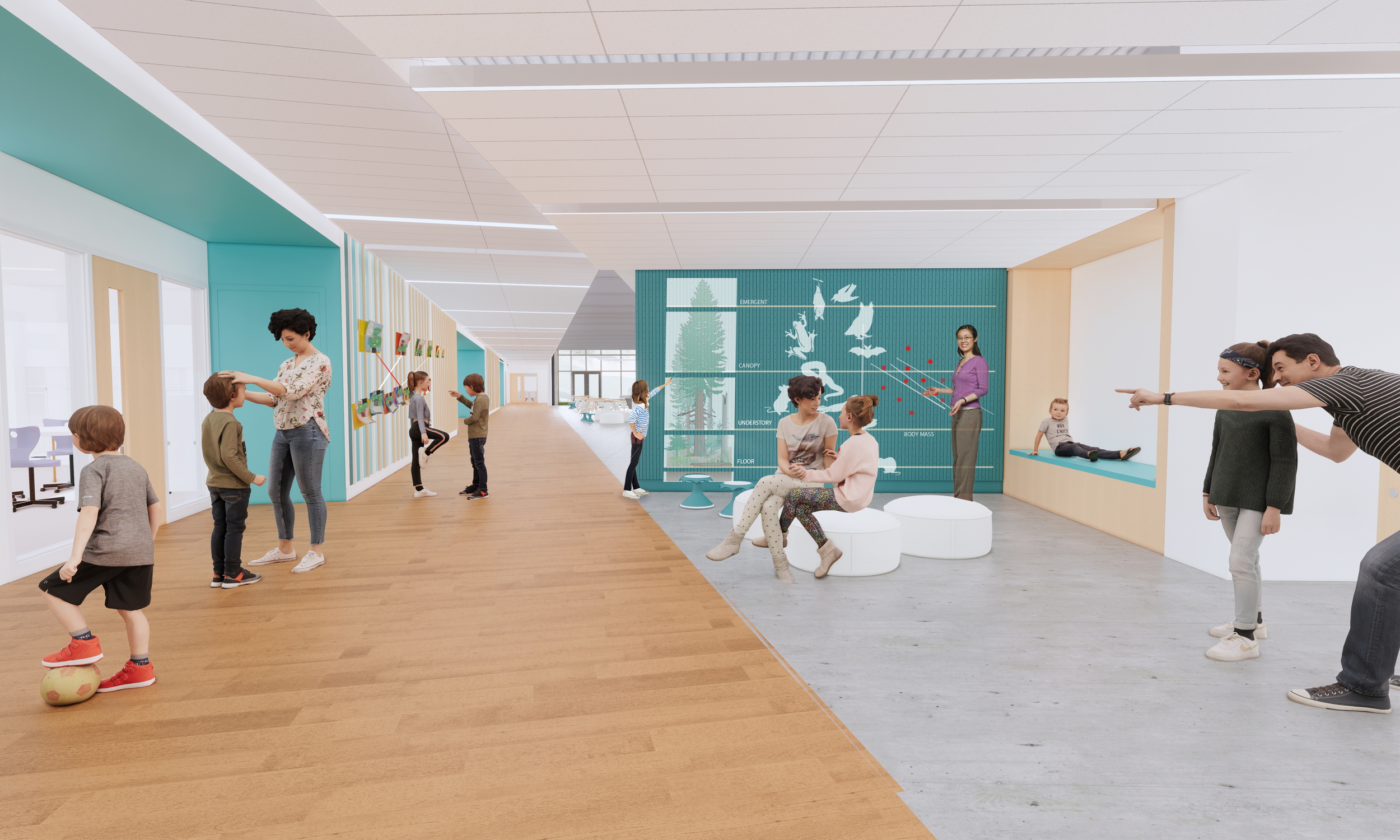 Rendering of a school interior where students, parents, and teachers engage with architectural features like a seating nook and a wall displaying an educational diagram
