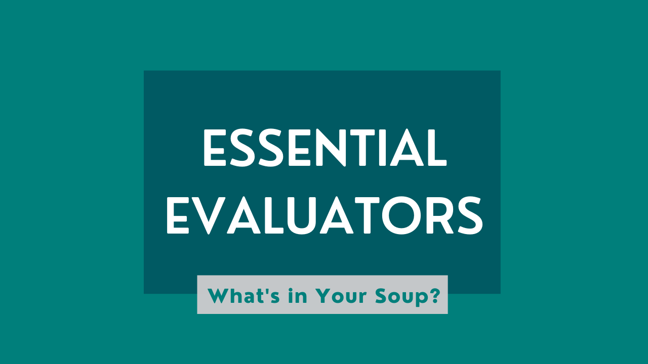 "A graphic reading ""Essential Evaluators: What's in Your Soup?"""
