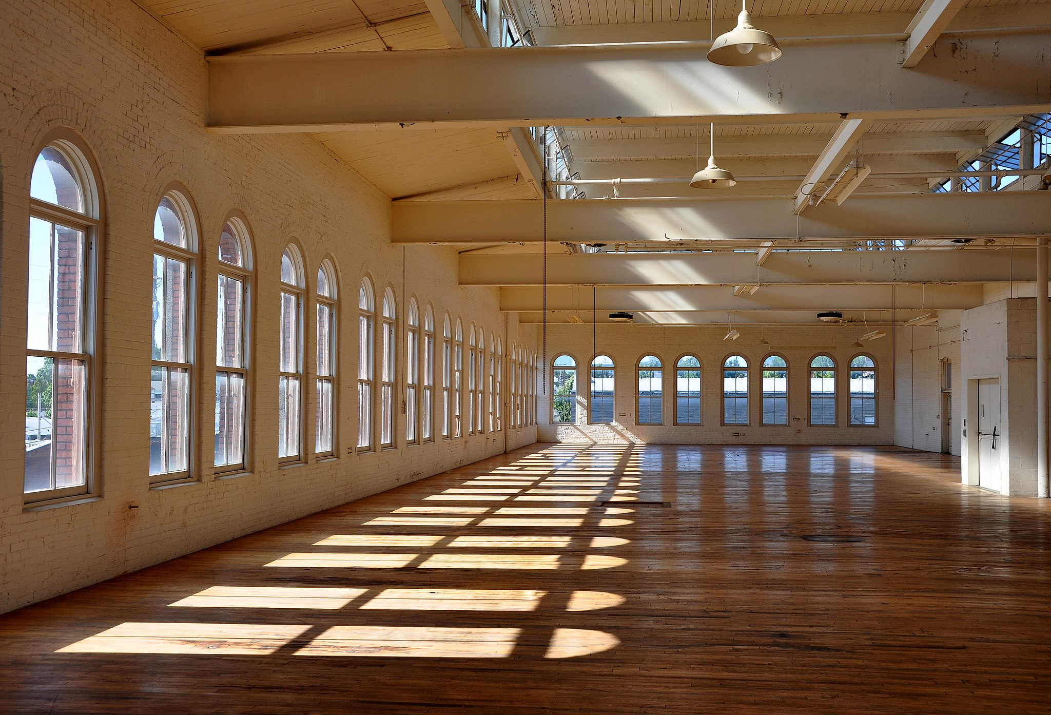 West side of the second floor of the Yale Union Laundry Building in Portland, Oregon, United States. The building, which housed a large commercial laundry for much of the first half of the 20th century, is listed on the National Register of Historic Places. Photo by: Finetooth, on Wikimedia Commons