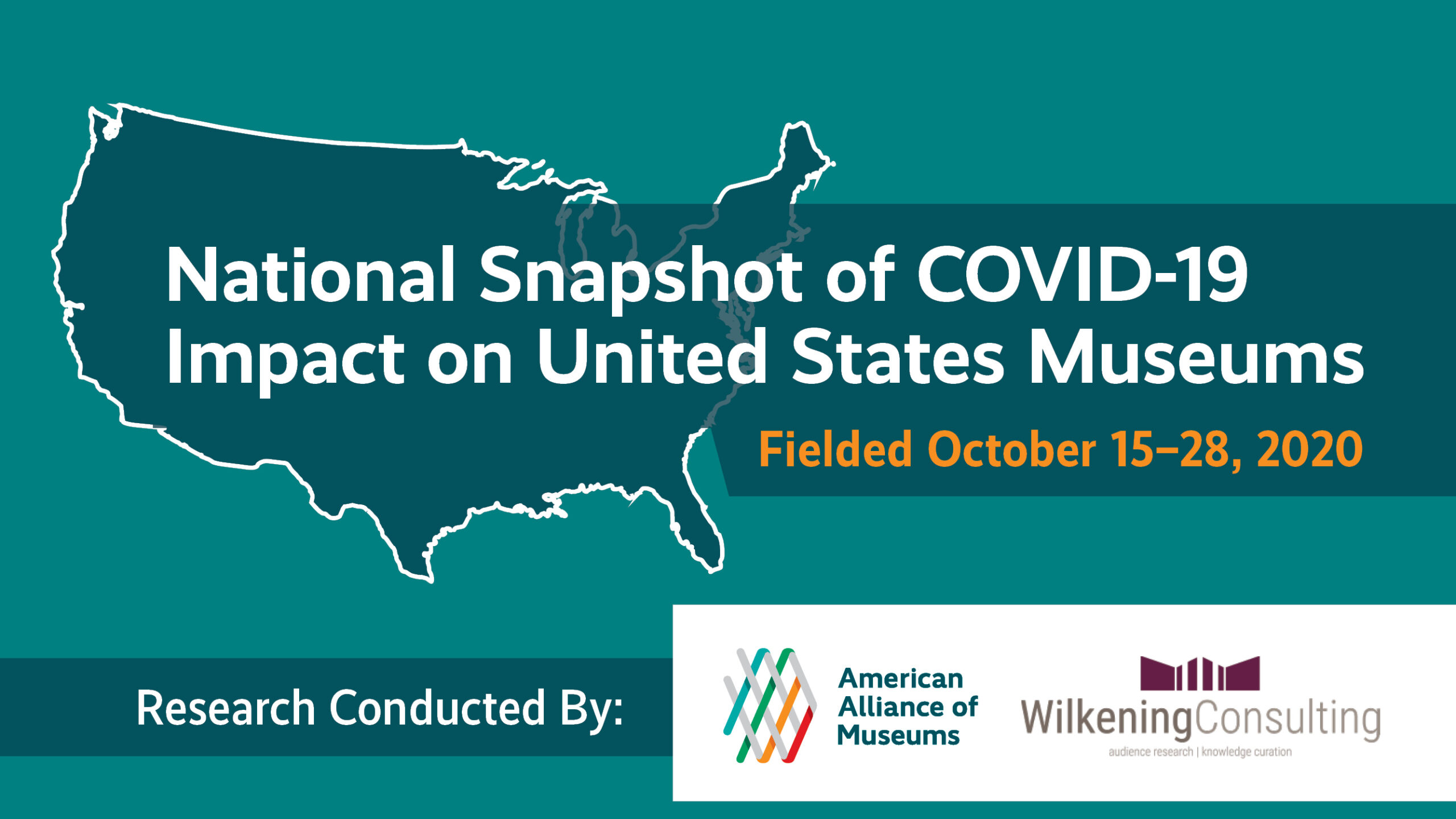 map of US with text overlay: National Snapshot of COVID-19 Impact on United States Museums