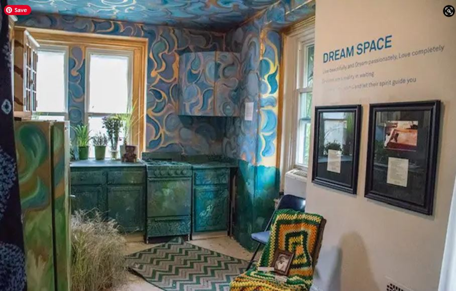 "The Colored Girl's Museum in Philadelphia is a house museum that founder Vashti DuBois likens to a public health facility. The 2016 exhibit ""A Good Night's Sleep,"" above, tasked artists with finding an elixir for 400 years of sleeplessness. (Zamani Feelings/The Colored Girls Museum)"