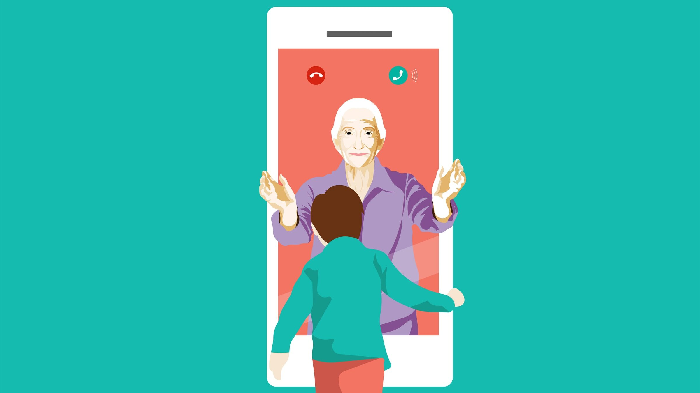 "A graphic of an older woman ""reaching out"" through a phone screen to a child"
