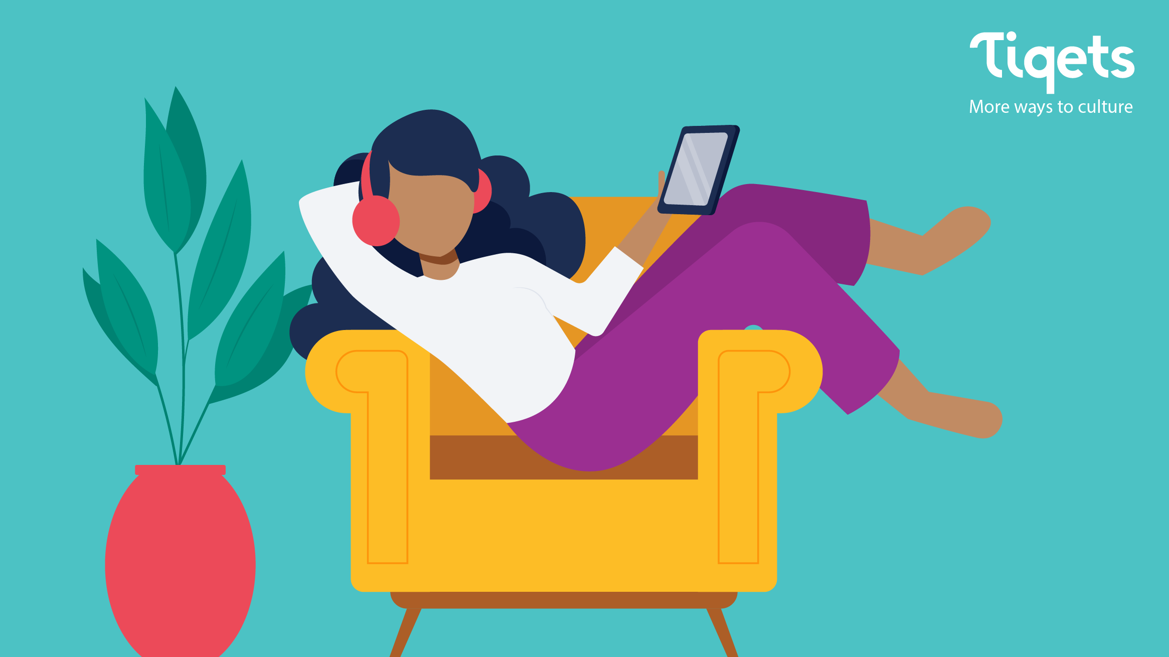 An illustration of a person lounging in an armchair looking at a device and wearing headphone