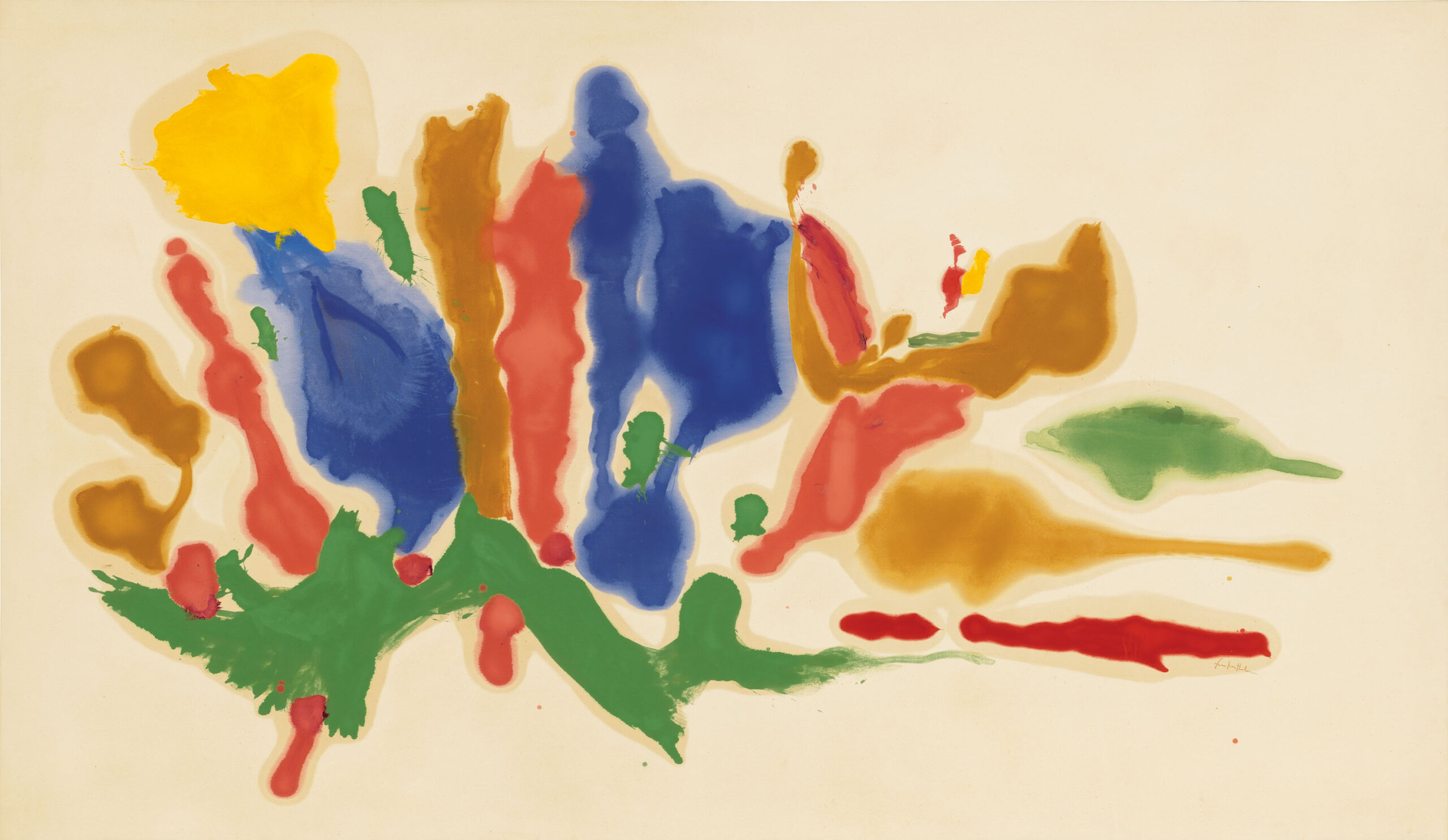 Helen Frankenthaler, Cool Summer, 1962, oil on canvas, 69 3/4 x 120 inches (177.2 x 304.8 cm). © 2021 Helen Frankenthaler Foundation, Inc. / Artists Rights Society (ARS), NY. Photo credit: Rob McKeever, courtesy Gagosian.