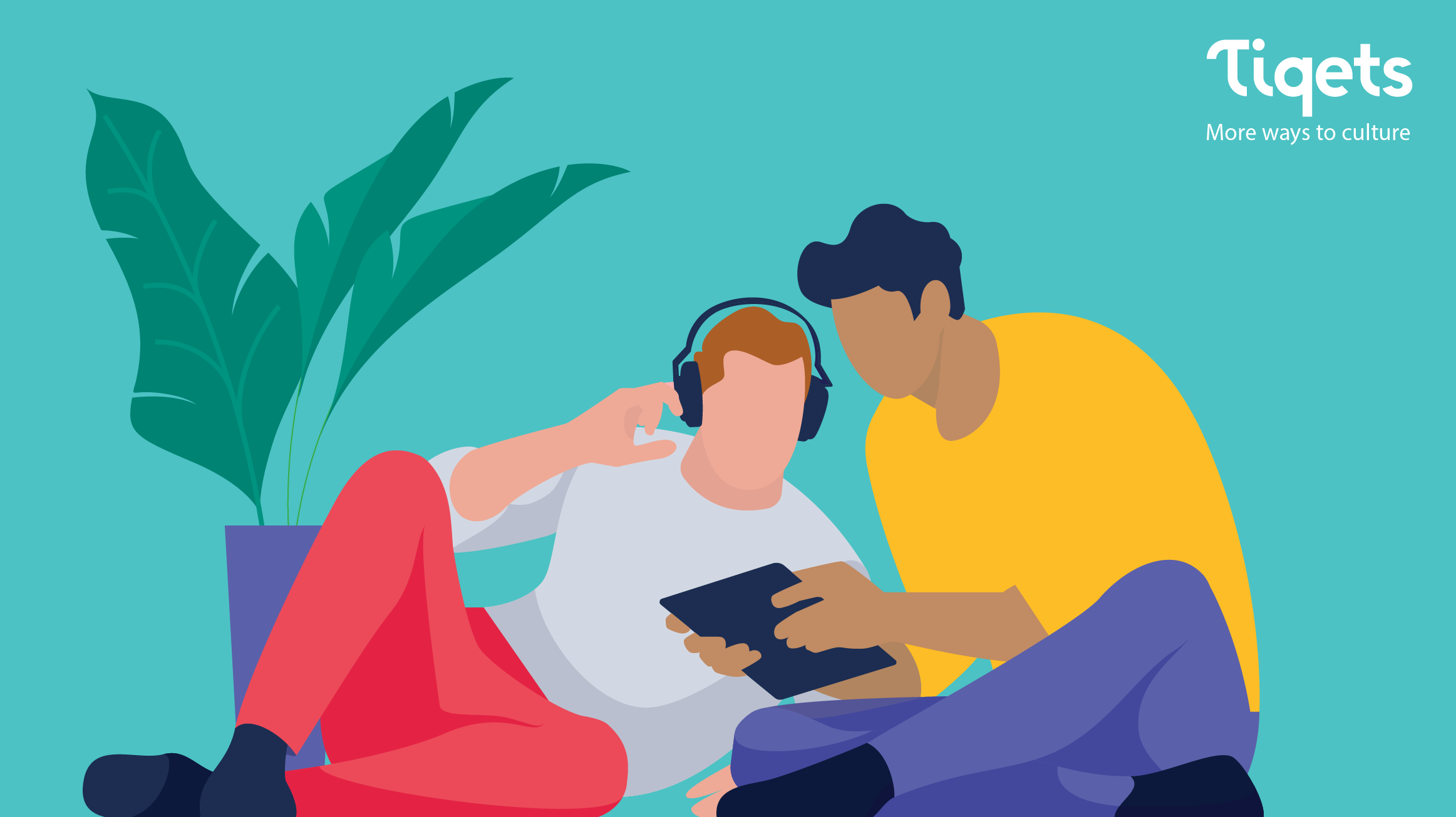 A graphic of two people sitting on the floor and looking at a tablet