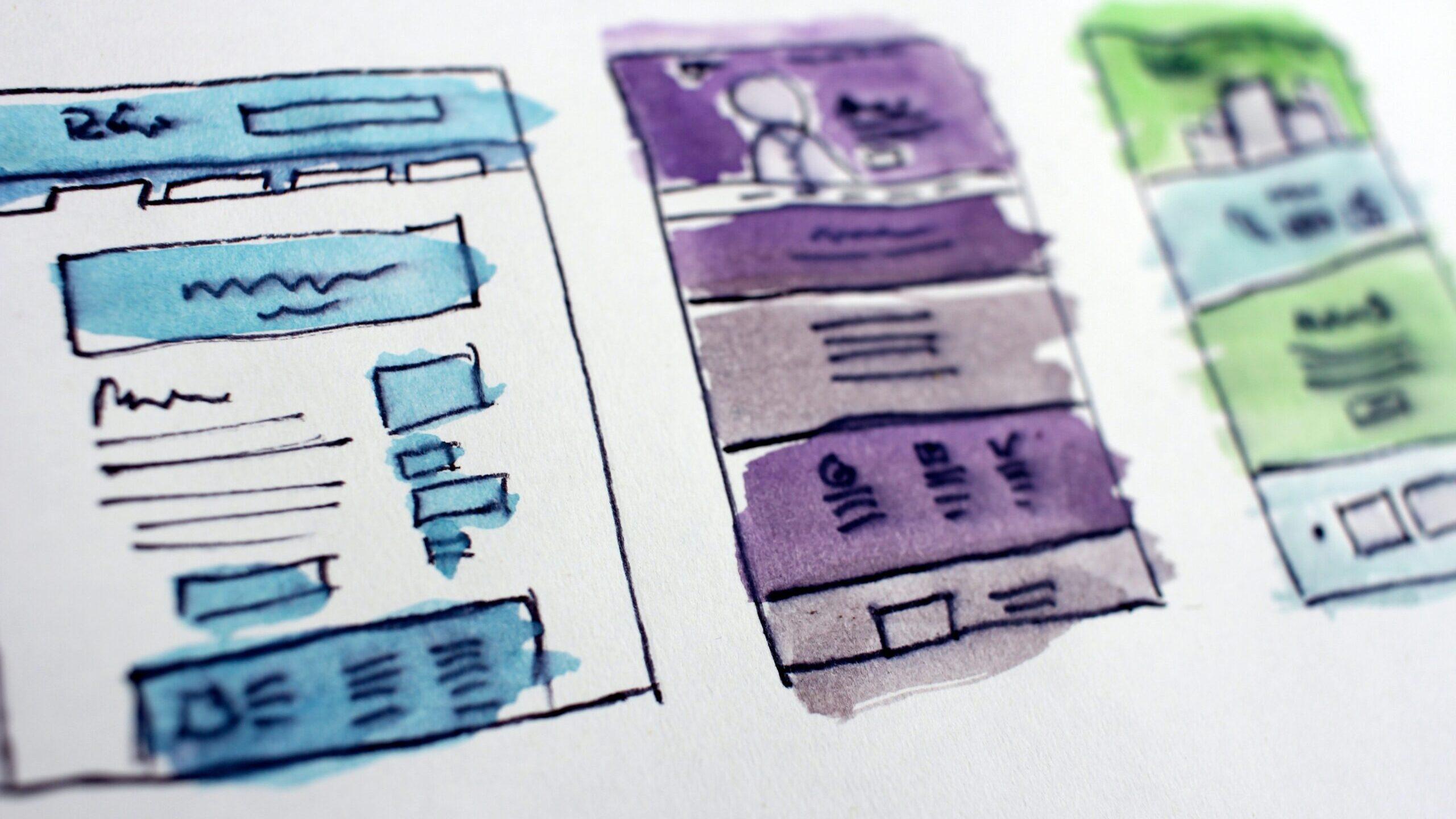 A watercolor mock-up of a web design