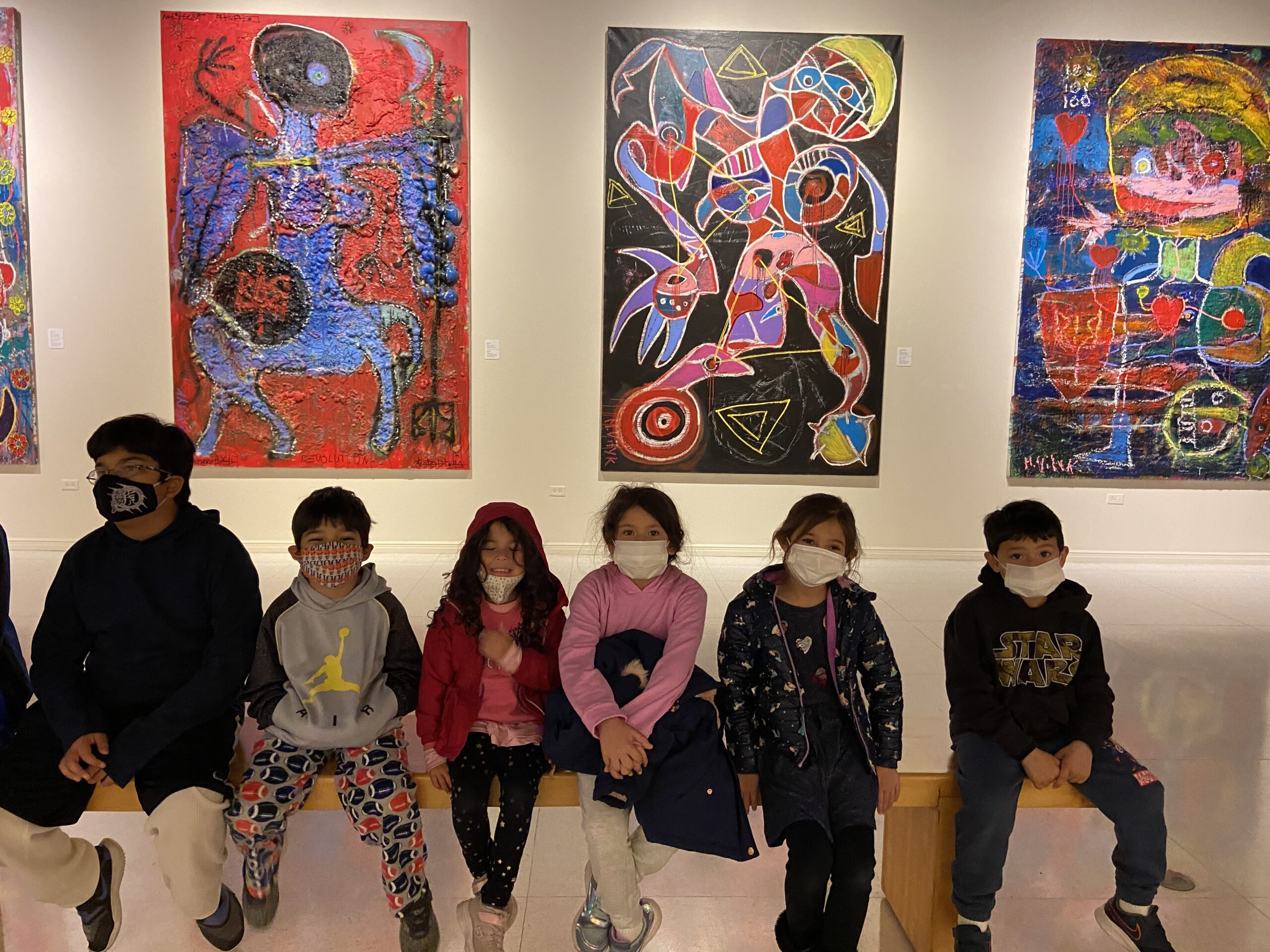 A group of classmates stop by for a visit, admiring the fun art. Photo courtesy of Vanessa Vasquez, @homeschoolme