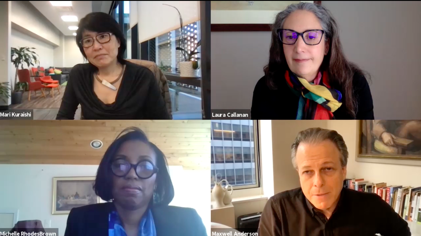 """Clockwise from top left: Mari Kuraishi, President, Jessie Ball duPont Fund; Laura Callanan, Founding Partner, Upstart Co-Lab; Max Anderson, President, Souls Grown Deep; Michelle RhodesBrown, Director of Finance, The Walters Art Museum in the webinar """"Impact Investing and the Arts."""""""
