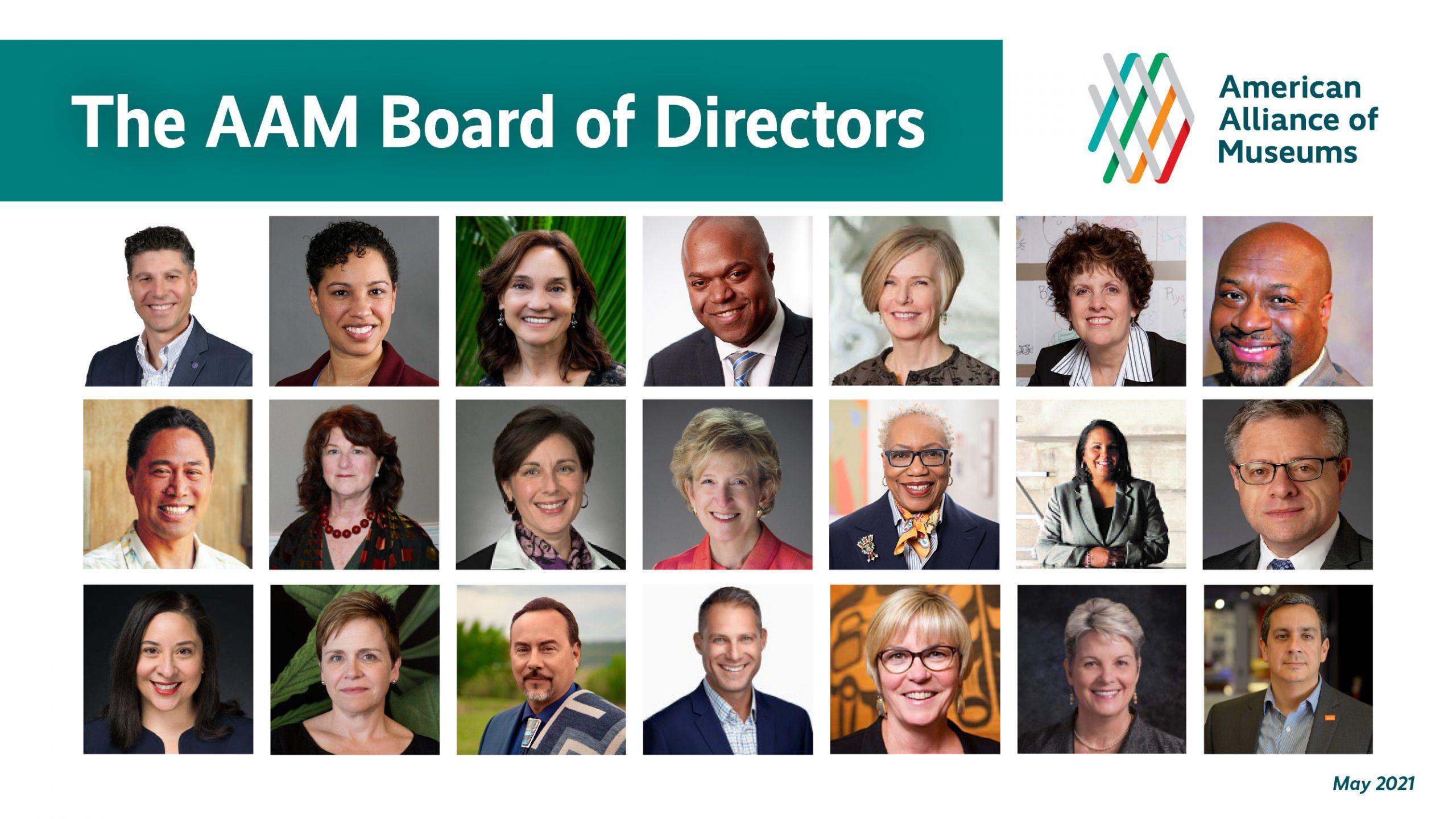 headshots of the AAM Board of Directors May 2021