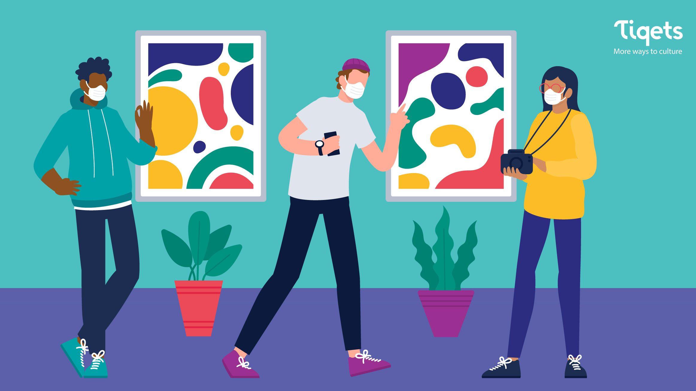 An illustration of three people wearing masks standing in a gallery with abstract paintings on the wall and plants on the floor