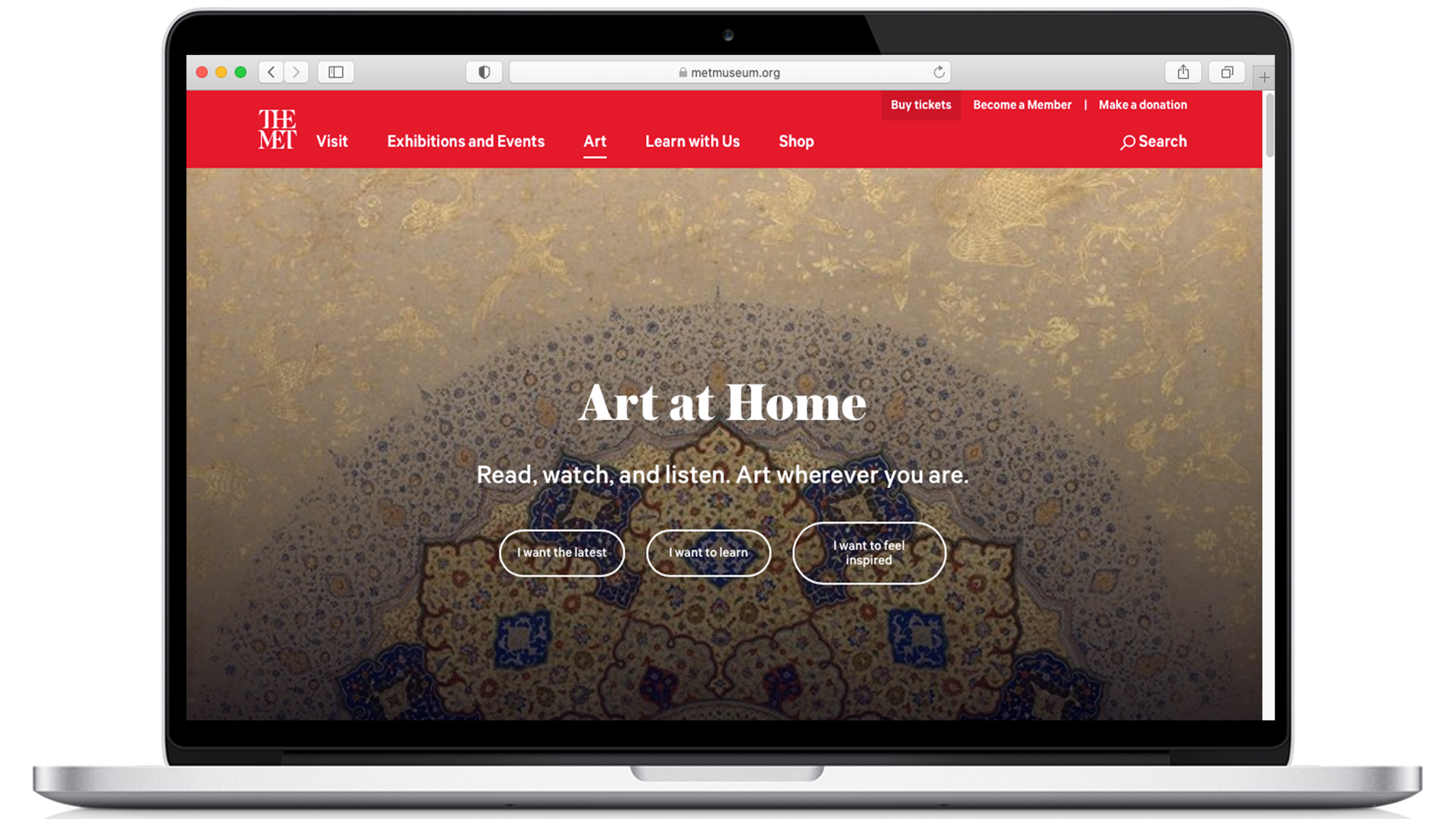 """A rendering of a laptop open to a page on the Metropolitan Museum of Art website titled """"Art at Home"""""""