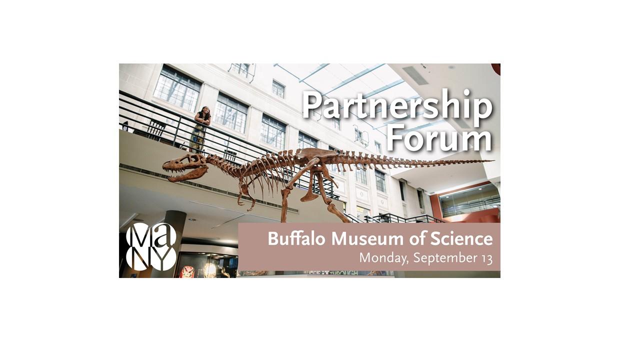 dinosaur skeleton inside Buffalo Museum of Science