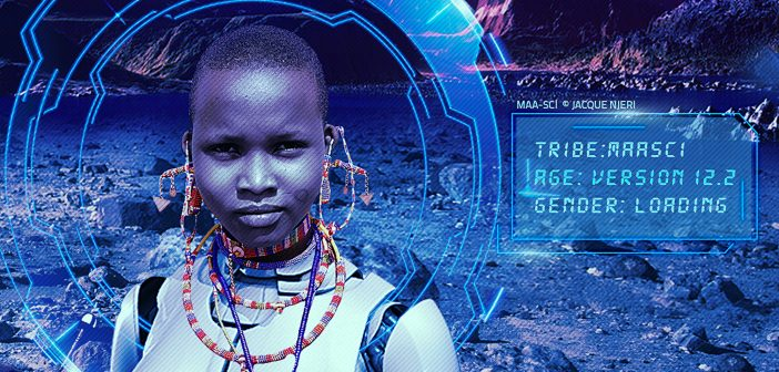 Jacque Njeri's MaaSci series explores potential futures of the Maasai in outer space.  http://jacquenjeri.com/