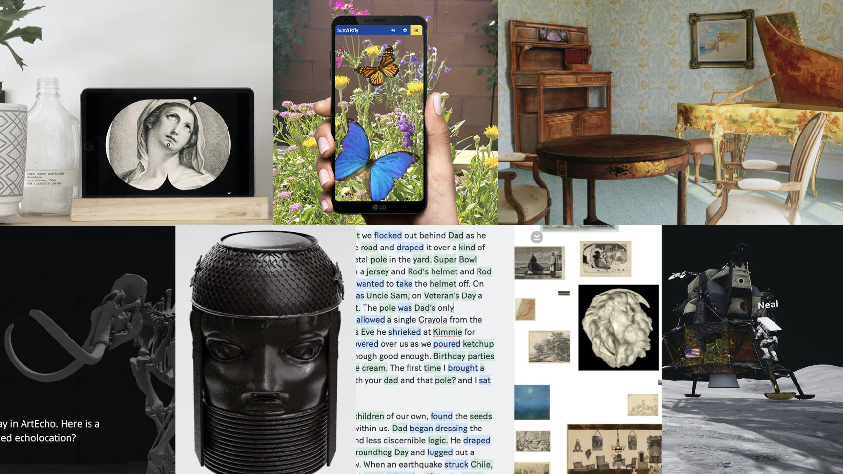 A collage of images showing digital applications related to museum collections